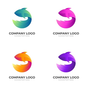 Logotipo do projeto do logotipo do peixe com estilo colorido 3d