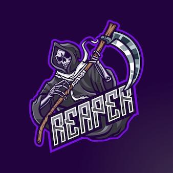 Logotipo do reaper mascot para esport e esportes