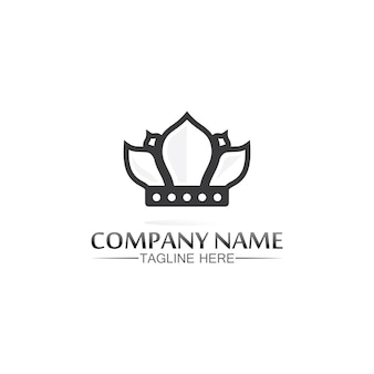 Logotipo do rei e da rainha. projeto da ilustração do ícone do modelo do logotipo da coroa