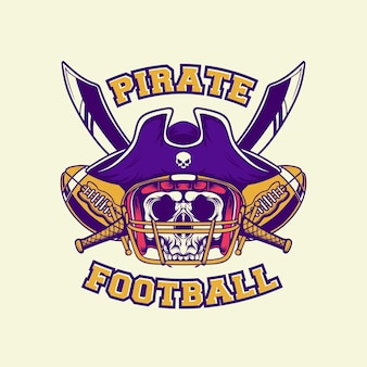 Logotipo do rei pirata do futebol americano com estilo retro