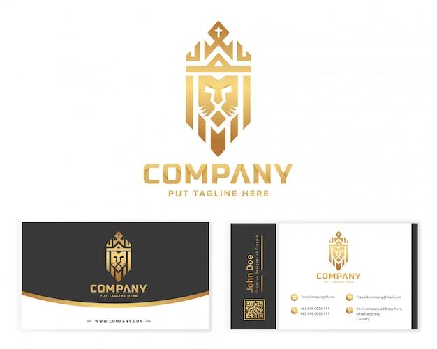 Logotipo do rei rei ouro com artigos de papelaria cartão de visita