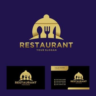 Logotipo do restaurante com uma luxuosa cor dourada e cartão de visita