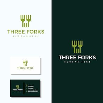 Logotipo do restaurante de três garfo com design de logotipo de cartão de visita