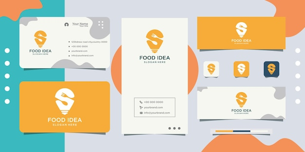 Logotipo do restaurante usando luzes brilhantes e cartões de visita