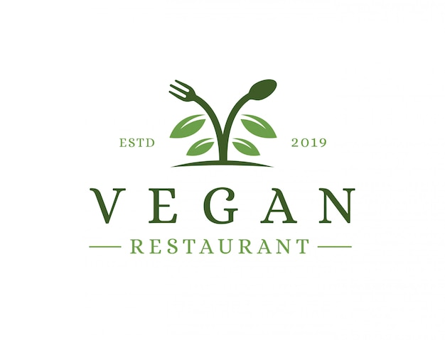Logotipo do restaurante vegan vintage