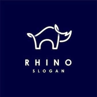Logotipo do rinoceronte com conceito de arte de linha