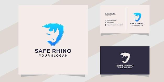 Logotipo do rinoceronte seguro e modelo de cartão de visita