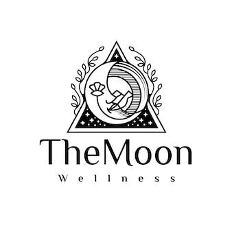 Logotipo do rosto da lua beleza preto