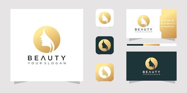 Logotipo do rosto de beleza e cartão de visita.