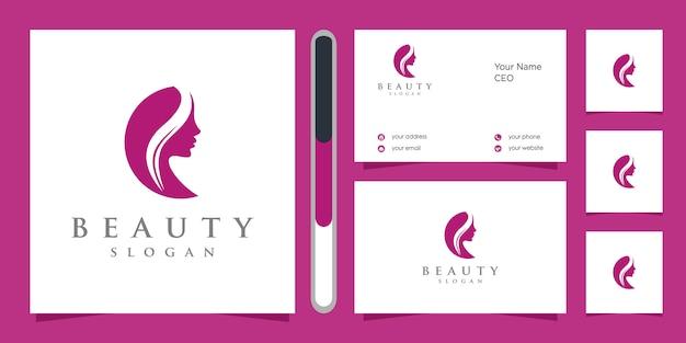 Logotipo do rosto de beleza e cartão de visita