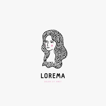 Logotipo do rosto de mulher, preto e branco desenhado à mão. cabelo com ornamento.