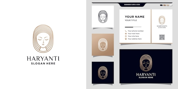 Logotipo do rosto feminino para salão de beleza com estilo de arte de linha e design de cartão de visita