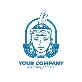 Logotipo do rosto feminino. retrato de uma mulher tradicional