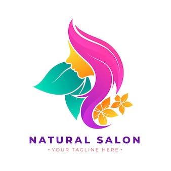 Logotipo do salão de beleza gradiente com slogan