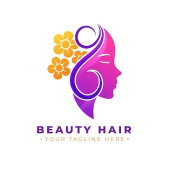 Logotipo do salão de cabeleireiro gradiente com slogan