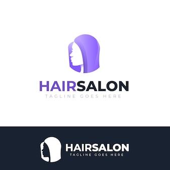 Logotipo do salão de cabeleireiro gradiente