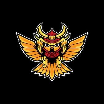 Logotipo do samurai da coruja