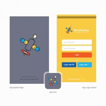 Logotipo do satélite e design da página de login