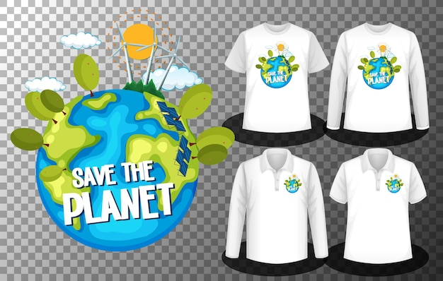 Logotipo do save the planet day com conjunto de diferentes camisetas com a tela do logotipo do save the planet day nas camisetas