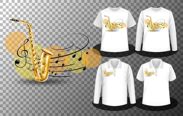 Logotipo do saxofone com notas musicais com conjunto de diferentes camisetas com tela de logotipo nas camisetas