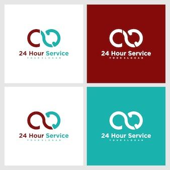 Logotipo do serviço 24 horas, logotipo de referência para negócios