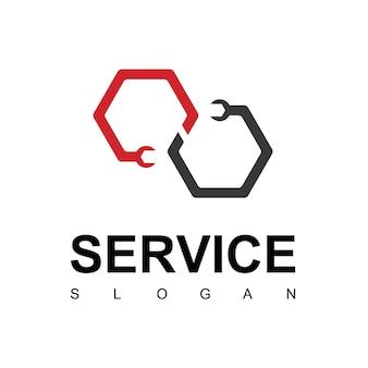 Logotipo do serviço com símbolo de chave inglesa