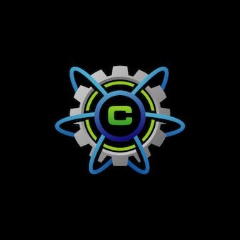 Logotipo do serviço de engrenagem de conexão de rede