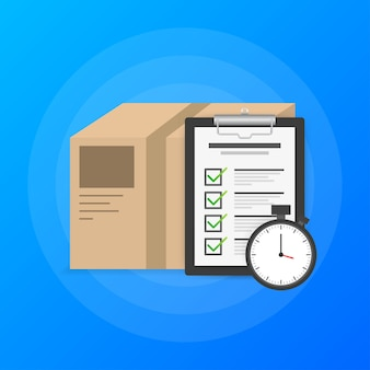 Logotipo do serviço de entrega expressa. pacote de entrega em tempo rápido com cronômetro sobre fundo azul. lista de afazeres.