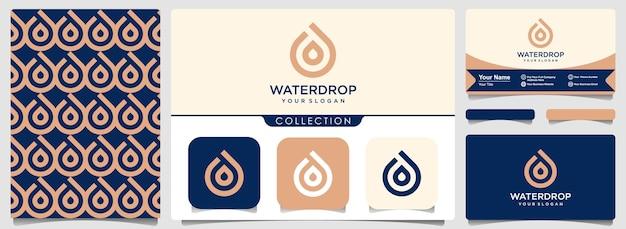Logotipo do símbolo de óleo com conjunto de padrão e design de cartão de visita