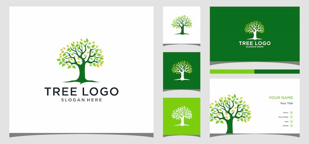 Logotipo do símbolo do ícone criativo de árvore. design de logotipo, ícone e cartão de visita premium vector