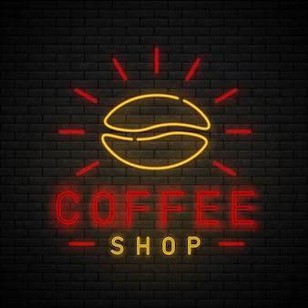 Logotipo do sinal brilhante da luz de néon do café. sinal de néon do café na parede de tijolos. hora do café.