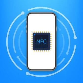 Logotipo do sinal de pagamento sem fio sem contato. tecnologia nfc. ilustração de estoque vetorial