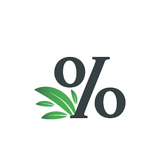 Logotipo do sinal de porcentagem com folhas verdes logotipo do caractere de porcentagem com folha verde