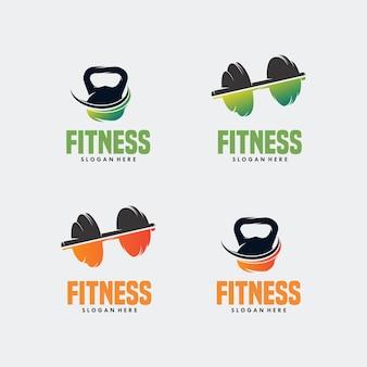 Logotipo do sino e barra da chaleira para fitness, vetor de clip-art