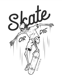 Logotipo do skate monocromático vintage