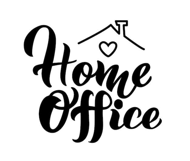 Logotipo do slogan do escritório em casa letras cartaz de tipografia com texto ilustração vetorial com corações