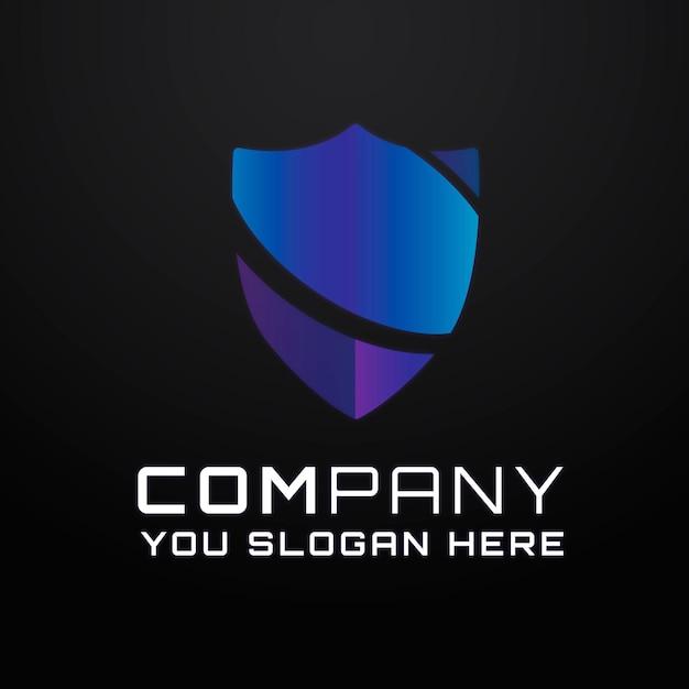 Logotipo do slogan editável do antivírus gradiente