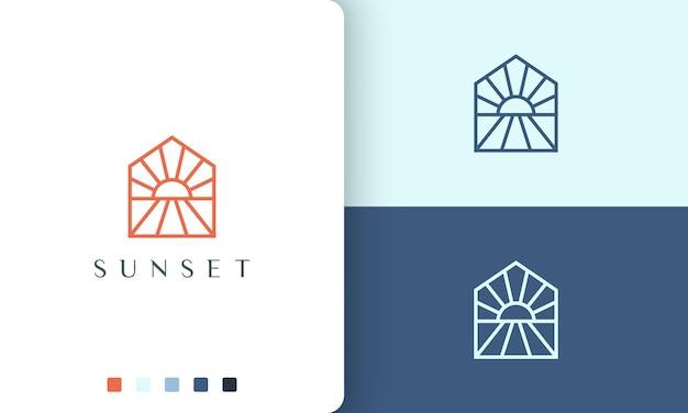 Logotipo do sol ou hotel na praia em estilo simples e moderno