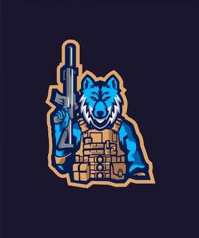 Logotipo do soldado lobo esportes