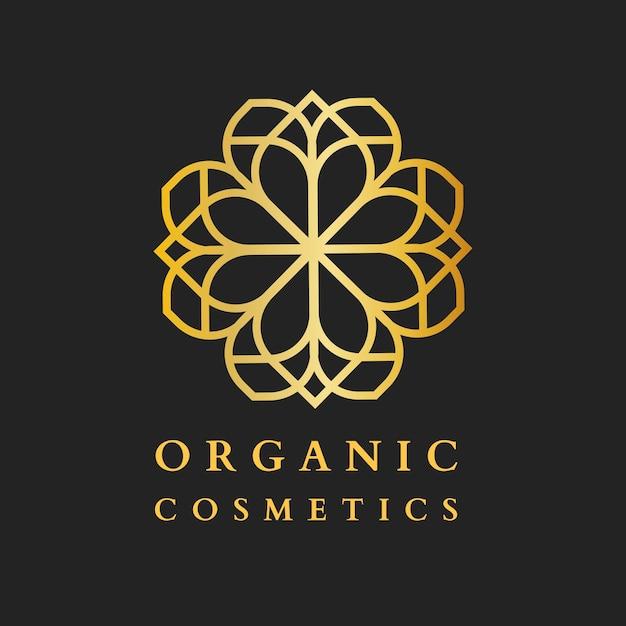 Logotipo do spa cosmético de beleza, design de luxo dourado para vetor de negócios de saúde e bem-estar