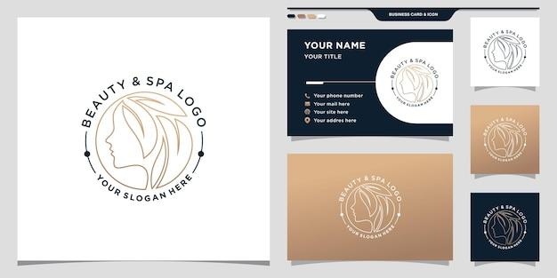 Logotipo do spa de beleza para mulher com linha de arte e conceito de círculo. modelo de logotipo de beleza e design de cartão de visita