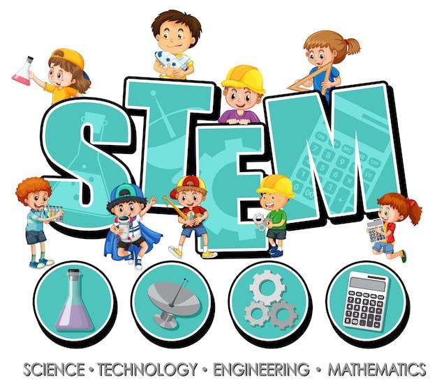 Logotipo do stem com muitas crianças e ícones de aprendizagem