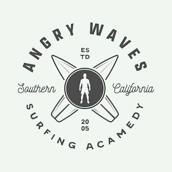 Logotipo do surf vintage emblema distintivo etiqueta marca cartão do dia internacional do surf arte gráfica