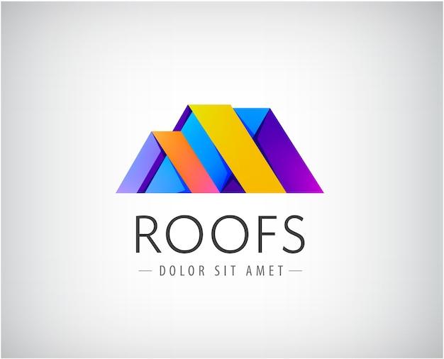 Logotipo do telhado para edifícios isolado em cinza