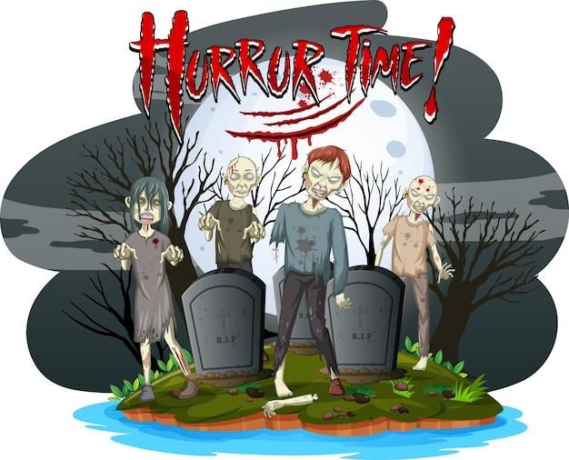 Logotipo do texto da hora do terror com zumbis assustadores no cemitério