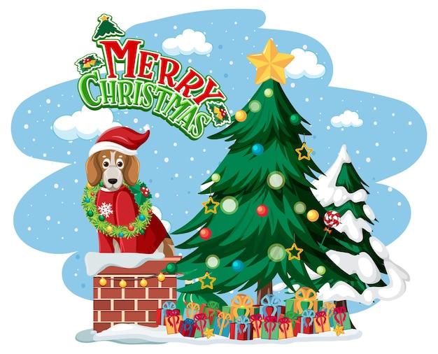 Logotipo do texto feliz natal com árvore de natal e cachorros fofos