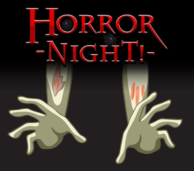 Logotipo do texto horror night com mãos de cadáver