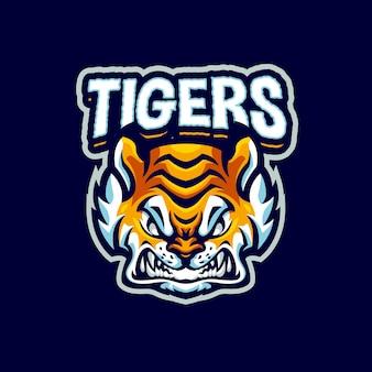 Logotipo do tiger mascot para equipes esport e esportivas