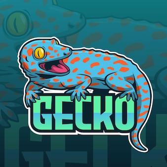 Logotipo do time de jogos, mascote gekko gecko