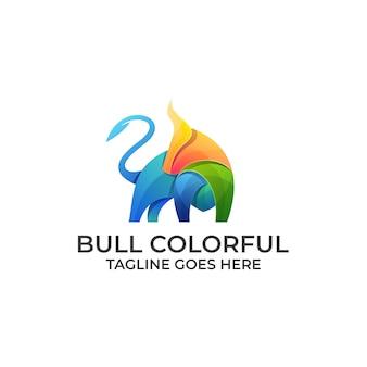 Logotipo do touro forte design colorido